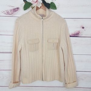 J. Crew Zip Up Buttoned Pocket Cardigan L